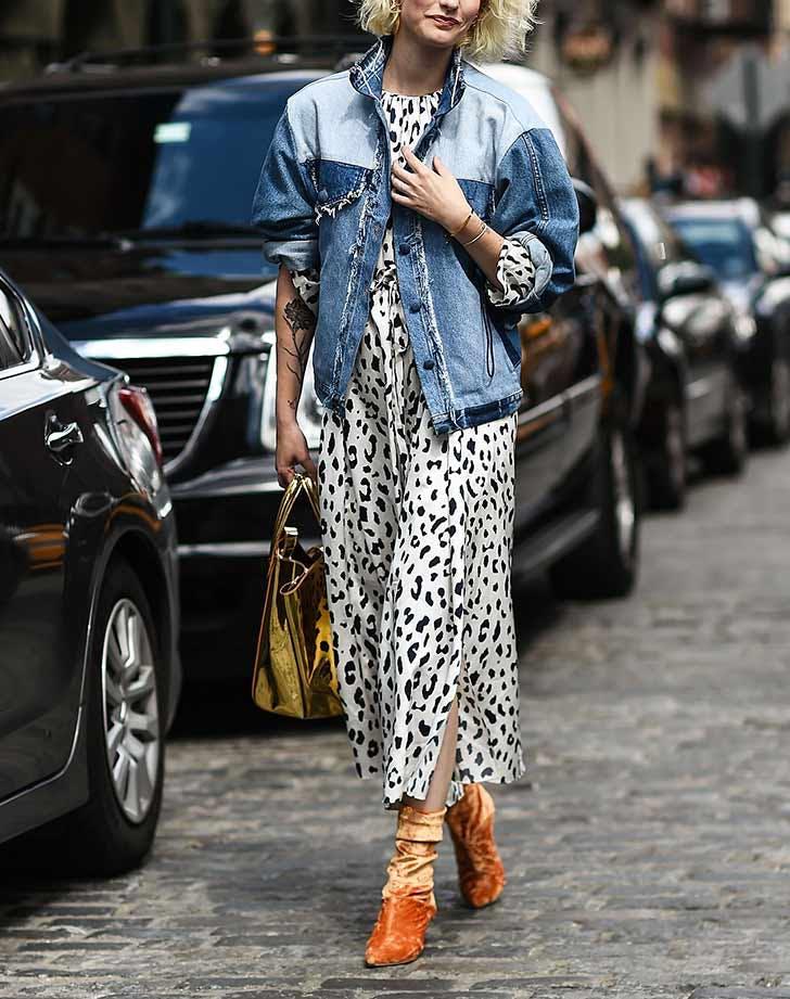 patchwork denim jacket animal print dress nyfw outfits NY