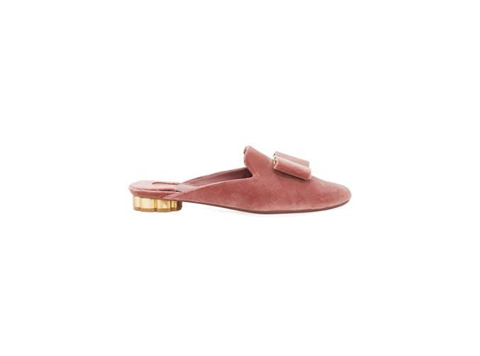 pink velvet slip on mules