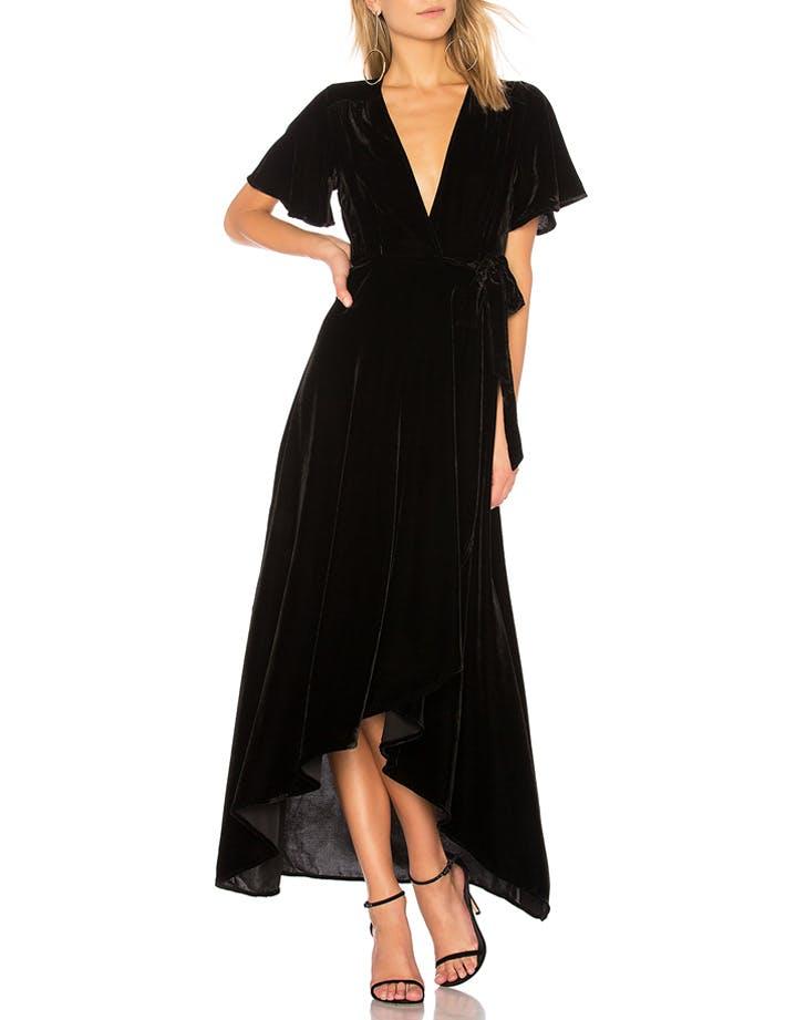 privacy please velvet wrap dress NY