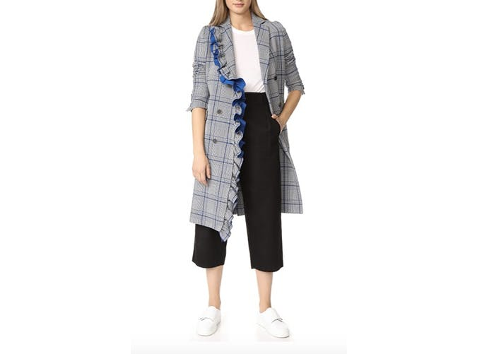 ruffle houndstooth coat