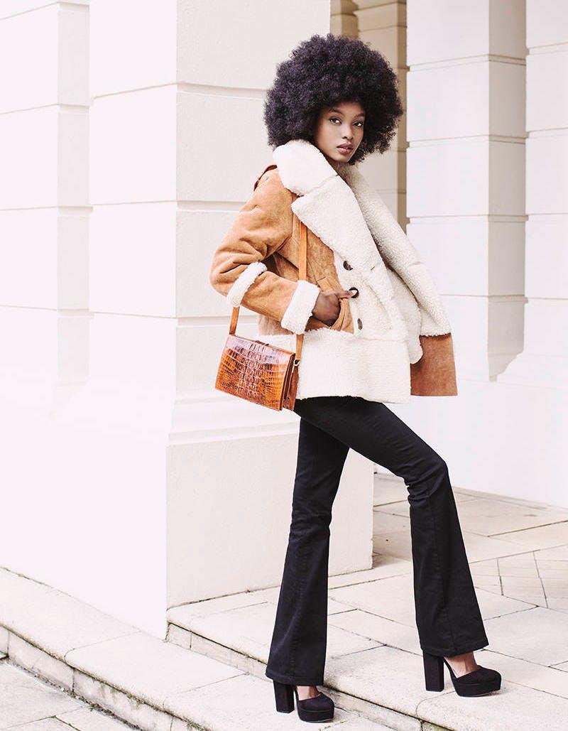 shearling details fall coat trends