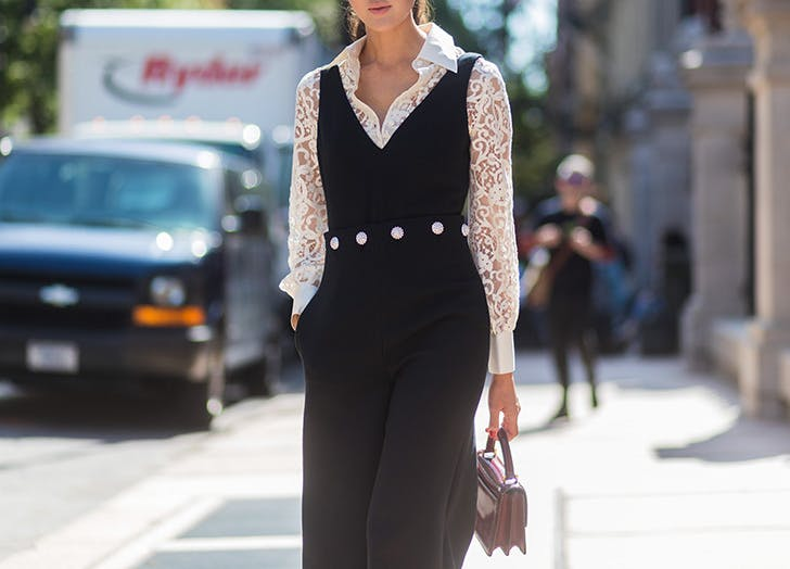 sleevless jumpsuit lace shirt nyfw outfits NY