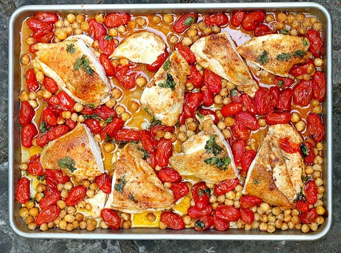 smoky roasted chicken breasts with tomatoes and chickpeas 501