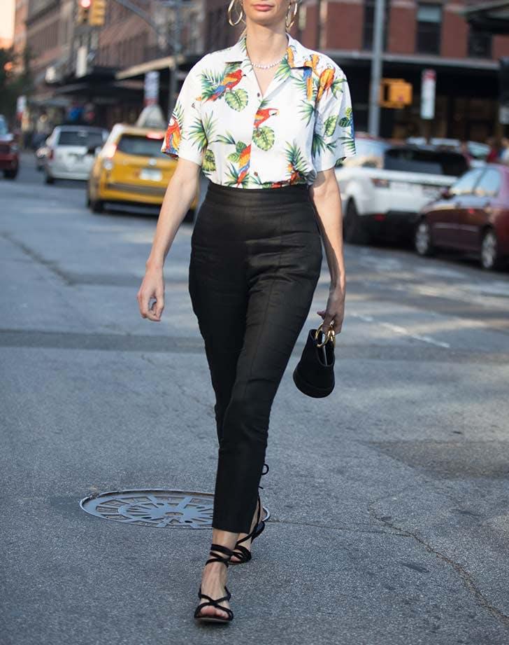tropical shirt cigarette pants nyfw outfits NY