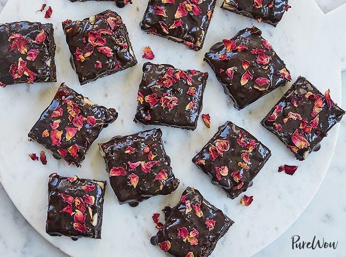 vegan rose petal brownies recipe slide