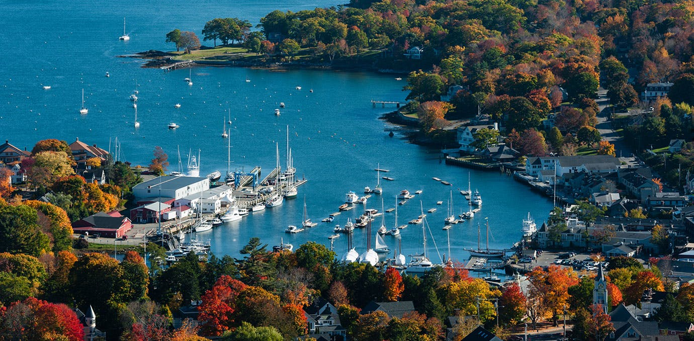 Aerial view of Camden Maine harbor in fall