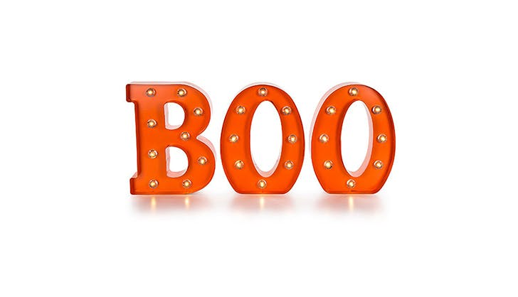 Amazon halloween decor   BOO marquee light sign