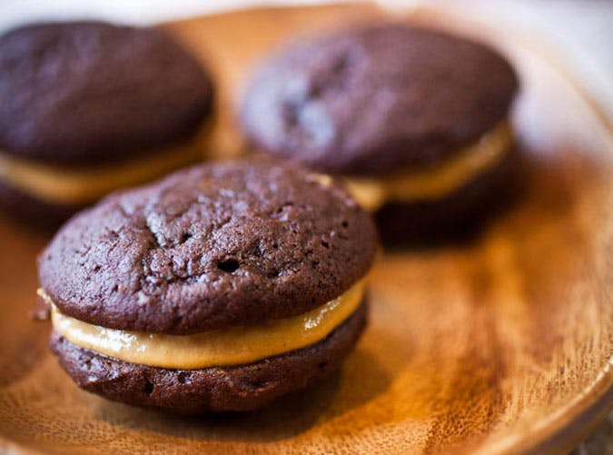 Chocolate Whoopie Pies with Canned Pumpkin Custard Filling
