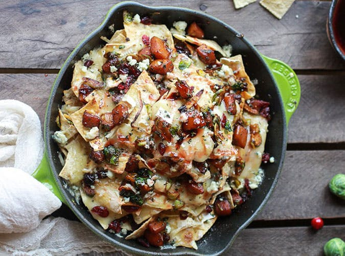 Cranberry Butternut and Brussels Sprout Brie Skillet Nachos Thanksgiving Party Appetizer