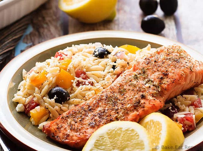 Crispy Salmon Greek Orzo mediterranean diet meals