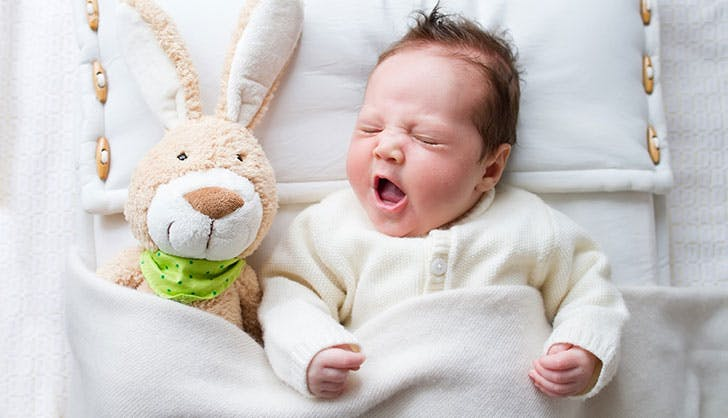 Cute Spanish baby boy with bunny