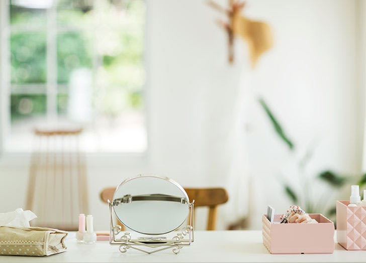 Dressing table with makeup