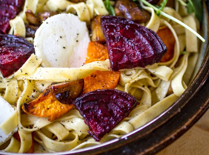 Fresh Pasta with Sweet Potato  Beet  and Goat Cheese