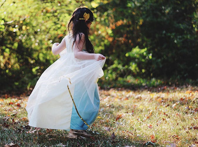 Girl dressed up as a fairy princess for Halloween