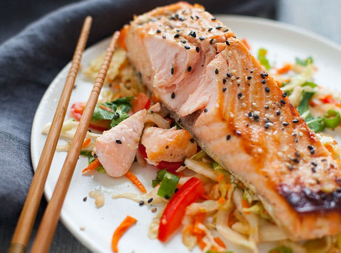 Green Tea Marinated Salmon with Asian Slaw
