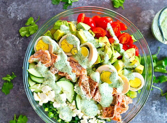 Grilled Salmon Cobb Salad with Cilantro Lime Ranch Dressing