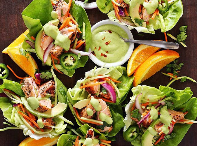 Grilled Salmon and Butter Lettuce Taco Wraps with Avocado Sauce