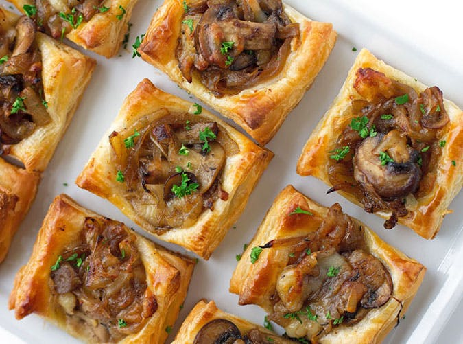 Gruyere Mushroom and Caramelized Onion Bites for Thanksgiving Party