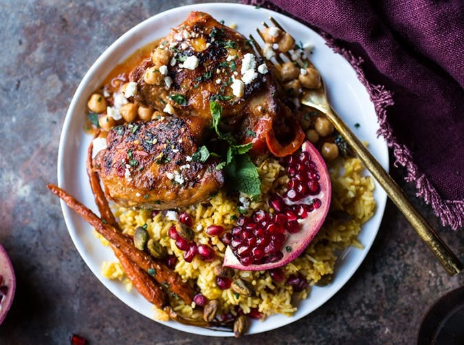 Honey Harissa Chicken with Chickpeas and Jeweled Pomegranate Rice