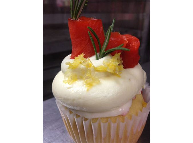 Lemon Rosemary Smoked Salmon Cupcake