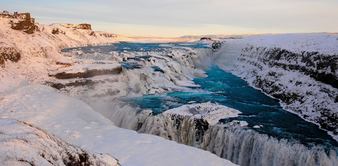 Long shot of Gullfoss waterfall in Iceland