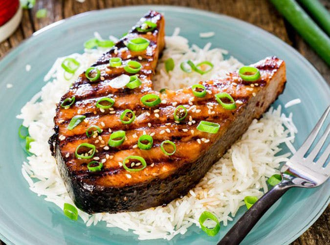 Maple Soy Grilled Salmon Steaks