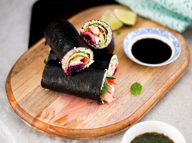 Marinated Salmon and Quinoa Maki Rolls