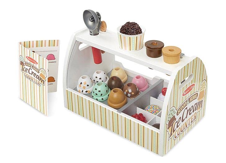 Melissa   Doug Wooden Scoop and Serve Ice Cream Counter