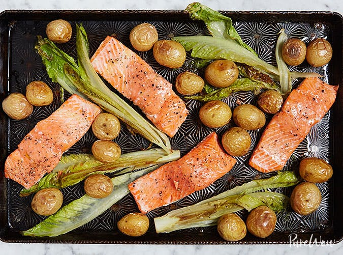 One Pan Roasted Salmon with Potatoes and Romaine1