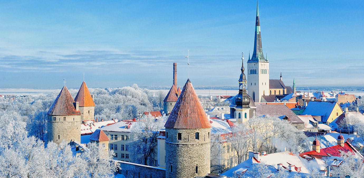 Panoramic view of the old town Tallinn Estonia in the winter.