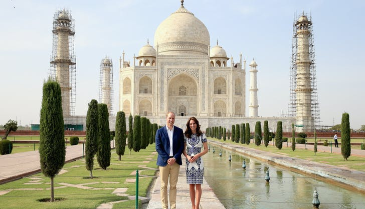 Prince William Kate Middleton smiling Taj Mahal