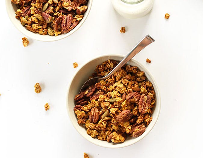 Pumpkin Pecan Granola with pepitas naturally sweetend with maple syrup pumpkin vegan glutenfree