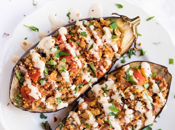 30 minute mediterranean diet recipes for dinner purewow quinoa stuffed eggplant with tahini sauce mediterranean diet meals forumfinder Choice Image