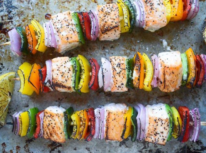 Rainbow Salmon Skewers Recipe