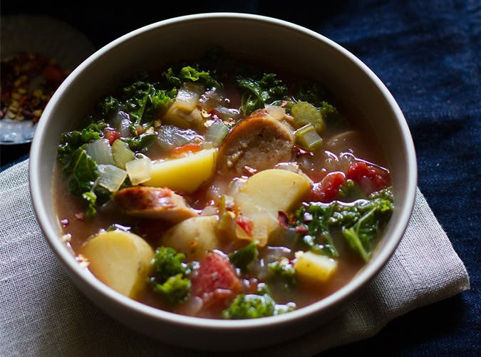 Roasted Tomato  Kale and Sausage Soup november meal ideas