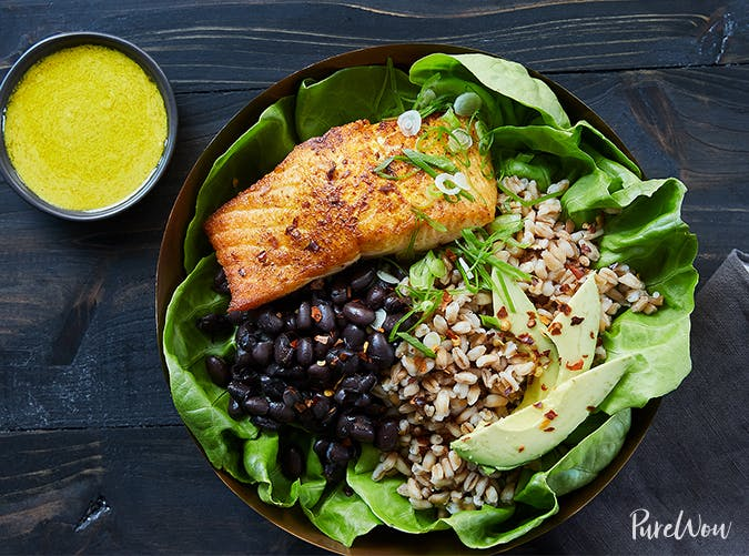 Salmon Bowl with Farro  Black Beans and Tahini Dressing november meal ideas