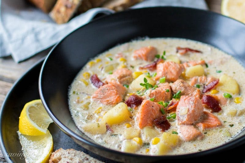 Salmon Chowder with corn bacon potatoes