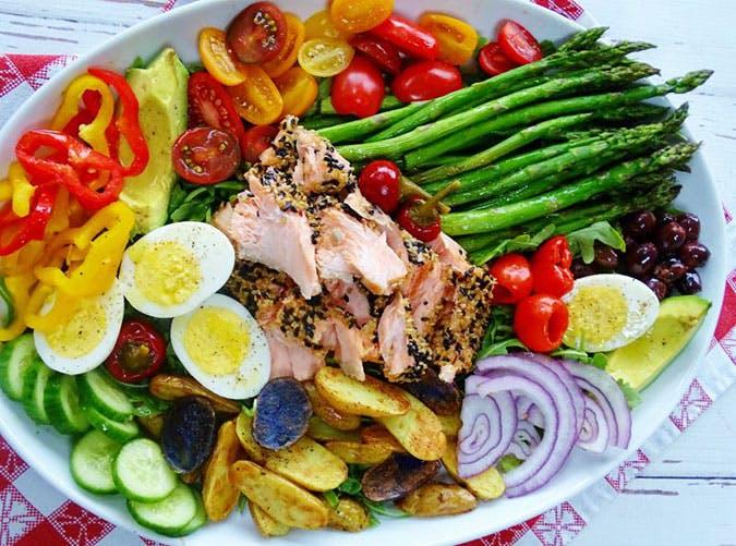Sesame Crusted Salmon Nicoise Salad