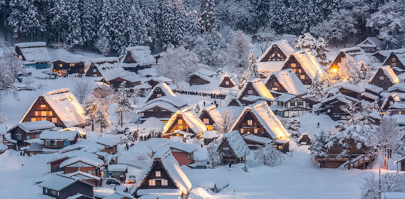 Shirakawago light up with Snowfall Gifu Chubu Japan1