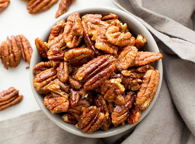 Skillet Roasted Gluten Free Maple Cinnamon Pecans