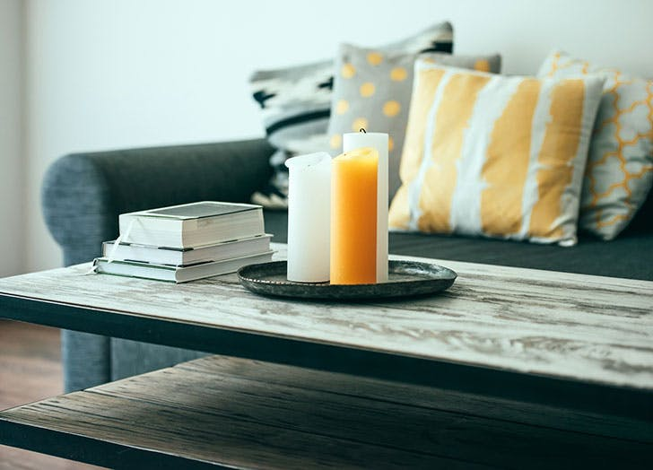 Sofa and coffee table with books