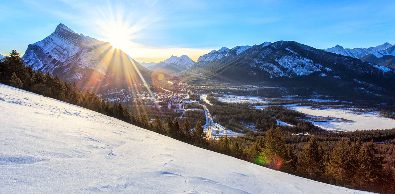 Sunrise over Banff Town in Canadian winter