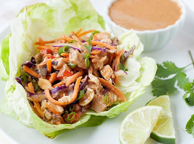 Thai Chicken Lettuce Cups with Peanut Sauce