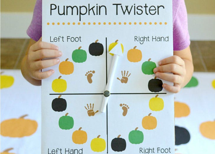 Thanksgiving Twister Game with Pumpkins