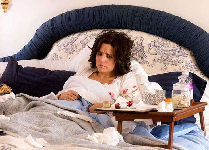 Veep sick in bed with cold scene