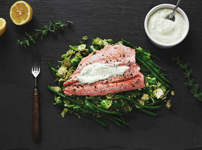 White Wine Herb Poached Wild Salmon   with Warm Brussels Sprouts and Haricot Vert Salad