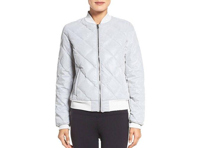 alo yoga reflective bomber jacket