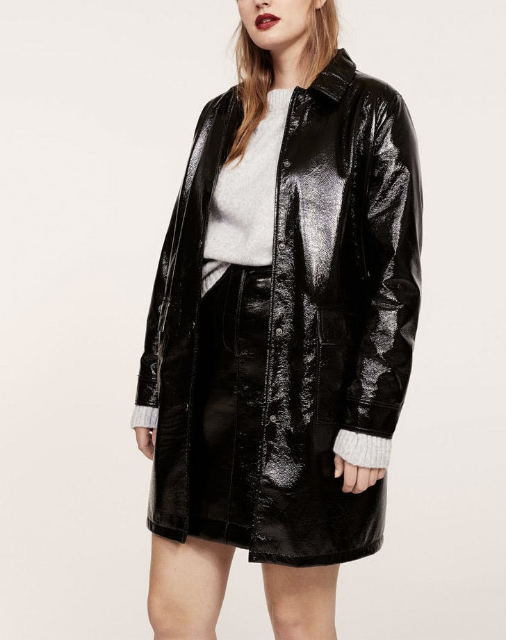 black patent leather coat