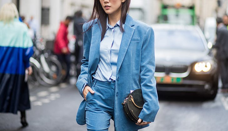 blue velvet suit street style