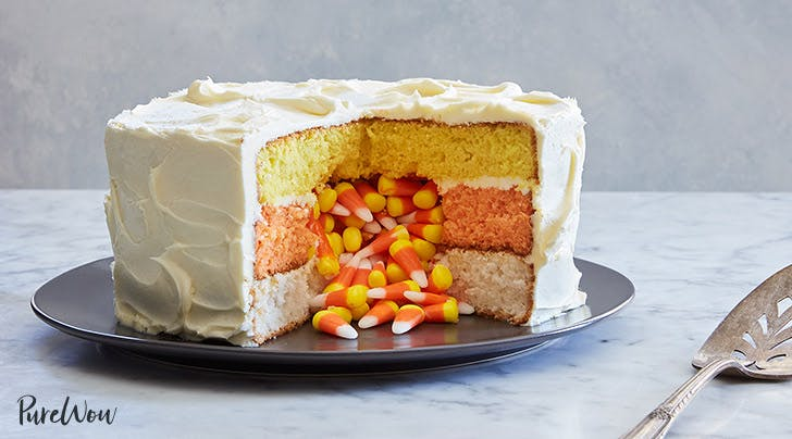 Candy Corn Surprise Cake